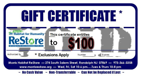 Morris Habitat for Humanity ReStore Gift Card