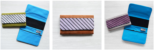 Microsuede Wallet Printed Stripe Accent | by Liz Sabo Handcrafted Fabric Bags