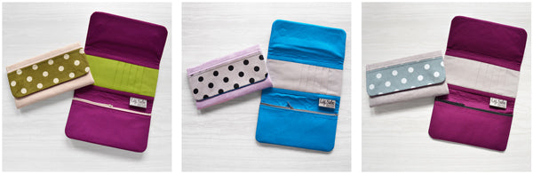 Microsuede Wallet with Screen Printed Polka Dots | by Liz Sabo Cleveland Ohio