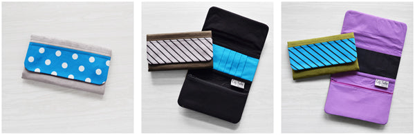 Microsuede and Canvas Wallet with Screen Printed Accent | by Liz Sabo Cleveland, Ohio