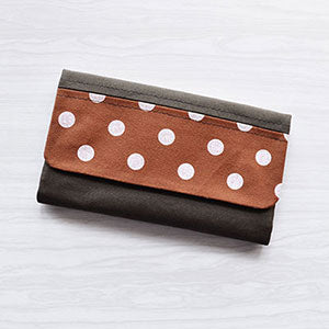 Accent Print Wallet | Tri Fold Womens Wallet | Polka Dots | Waxed Canvas | Made in USA