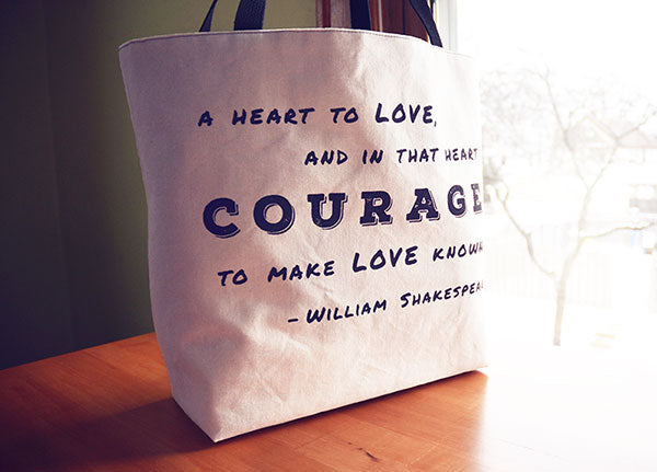 A Heart to Love Shopping Tote | Screen Printed Shakespearre Quote | by Liz Sabo