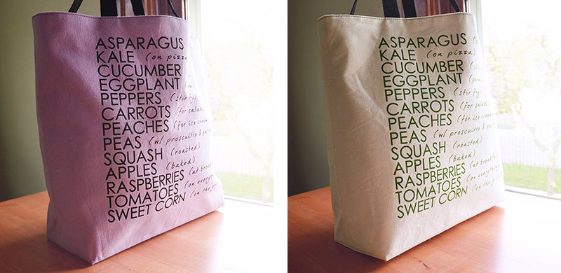 Fresh Fare of Summer Shopping Tote | Liz Sabo Handmade | Screen Printed Canvas | Cleveland Ohio