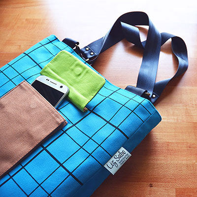 Patch Pocket Tote | Screen Printed with Plaid Pattern | Liz Sabo Handcrafted Fabric Bags