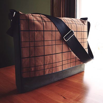 Modern Messenger Bag | Hand Printed with Plaid Pattern | by Liz Sabo Cleveland Ohio