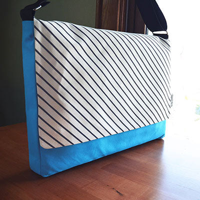 Modern Messenger Bag | Hand Printed with Stripe Pattern | Liz Sabo Fabric Bags