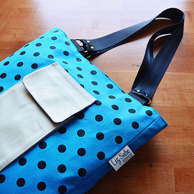 Patch Pocket Tote | Polka Dot Screen Print | Liz Sabo Handcrafted Fabric Bags