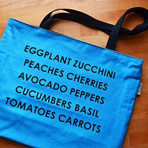 Screen Printed Market Tote | Summer Veggies Design | by Liz Sabo Cleveland Ohio