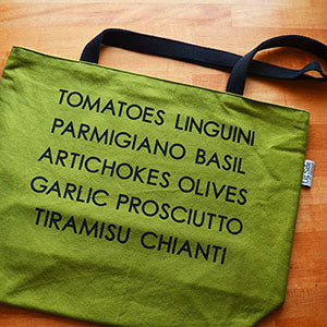 Screen Printed Market Tote | Italian Ingredients Design | by Liz Sabo Cleveland Ohio