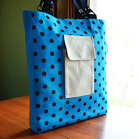 Patch Pocket Tote | Turquoise, Natural Canvas | by Liz Sabo Cleveland