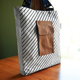 Patch Pocket Tote | Hand Printed Stripe Pattern | by Liz Sabo Cleveland