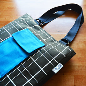 Patch Pocket Tote | Hand Printed Plaid Pattern | Made in USA by Liz Sabo