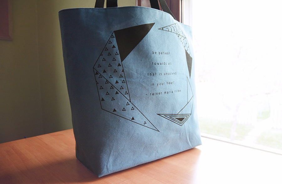 Rainer Maria Rilke Be Patient Quote | Screen Printed Shopping Tote | Liz Sabo Handmade | Cleveland, Ohio