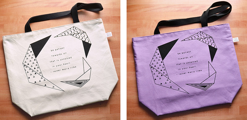 Rainer Maria Rilke Be Patient Quote | Screenprinted Shopping Totes | Liz Sabo Handmade | Made in the USA