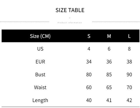 Size chart for this tank top. Small = Size 4, Medium = Size 6, and Large = Size 8