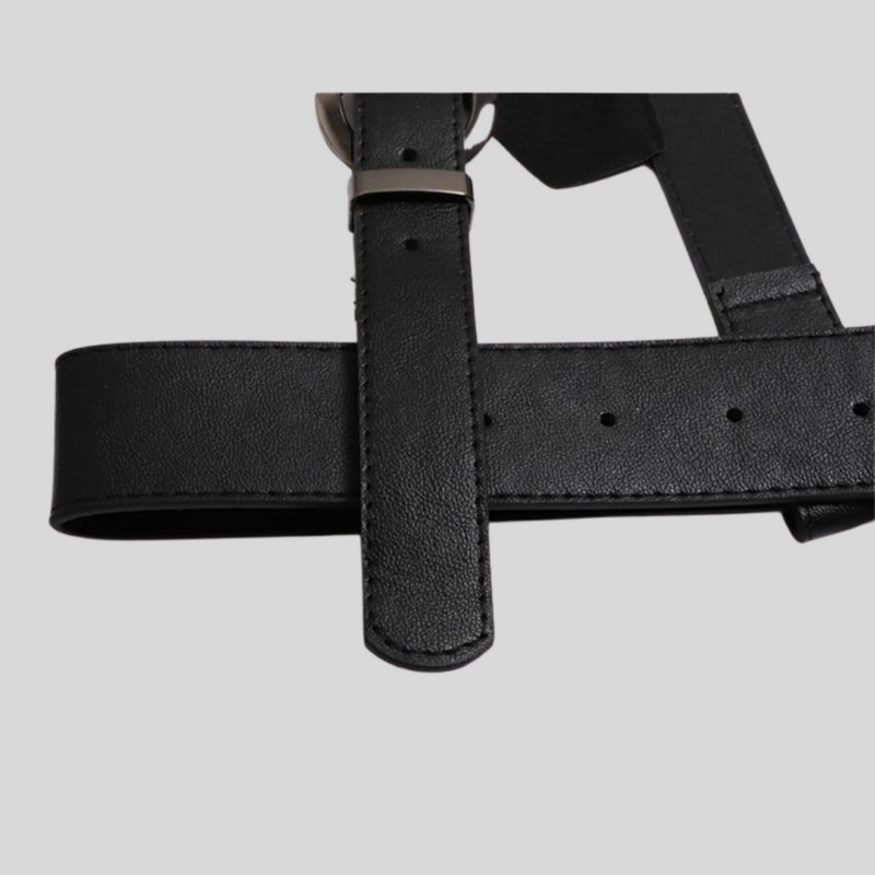 Ruffle Leather Chest Harness Belt