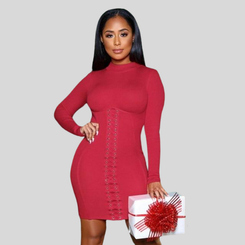 Ribbed Corset Long Sleeve Bodycon Mini