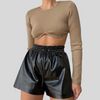 Underwire Hem Long Sleeve Crop