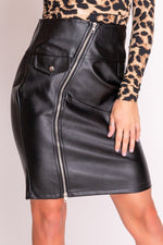 Black Faux Leather Zip Front Midi Skirt