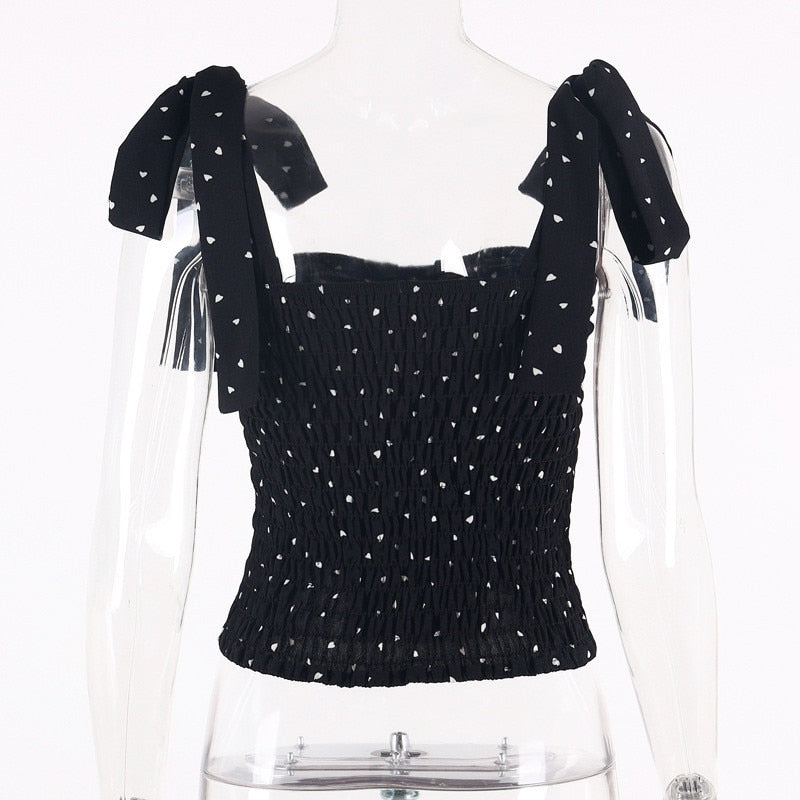 Black Polka Dot Bow Strap Top