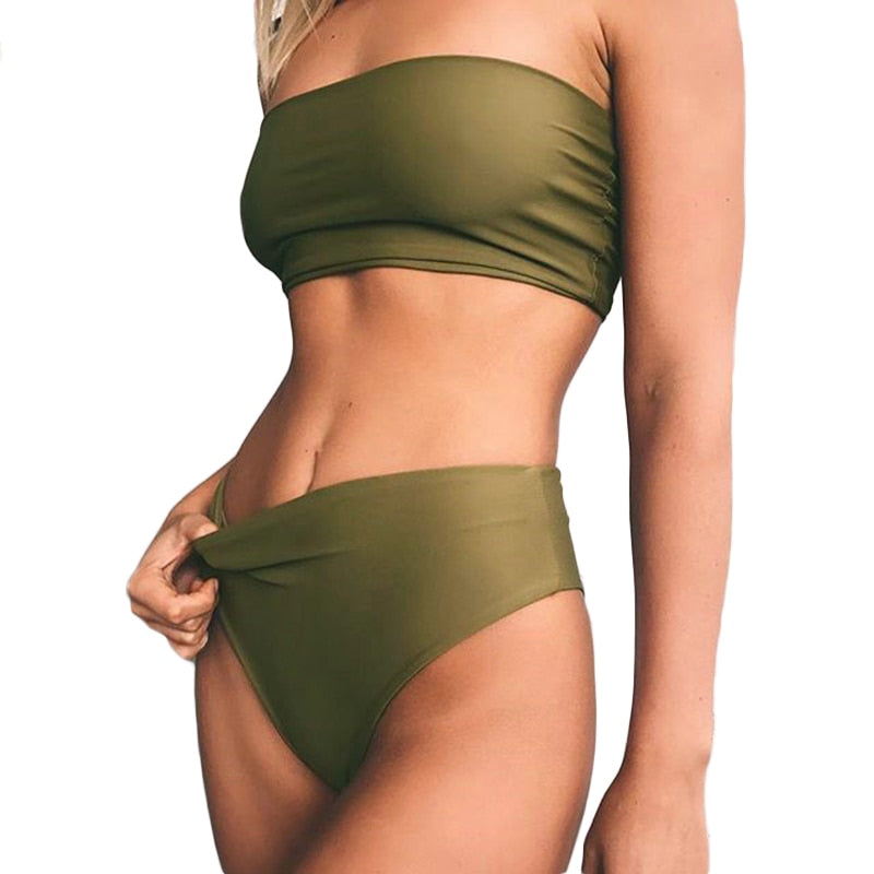 Solid Strapless Bandeau Bikini (8 Color Options) - DRESSI Style