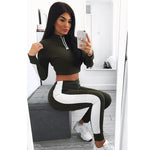 Yoga Cropped Stripe Two Piece Set (4 Colour Options)