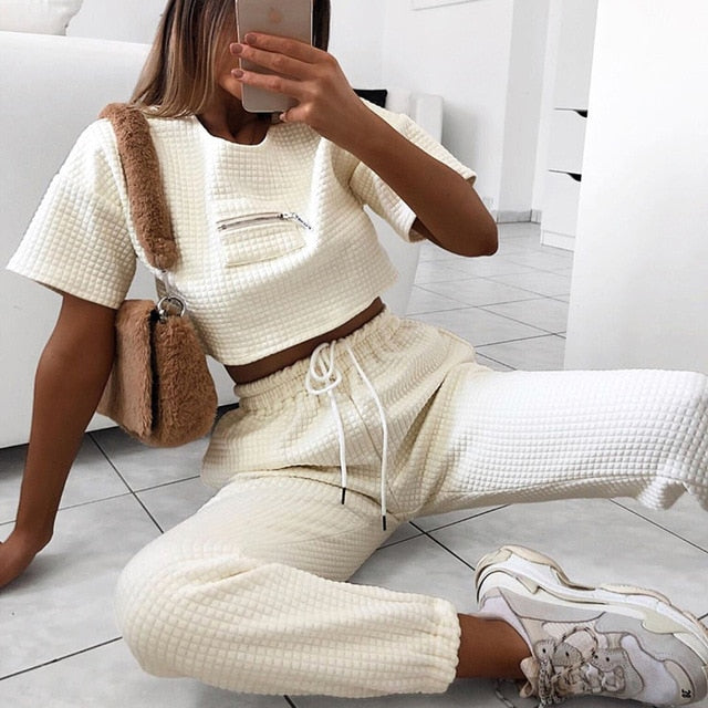 Vintage White Cropped Lounge Set