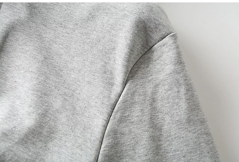 Premium Funnel Neck Cropped Hoodie Set in Grey