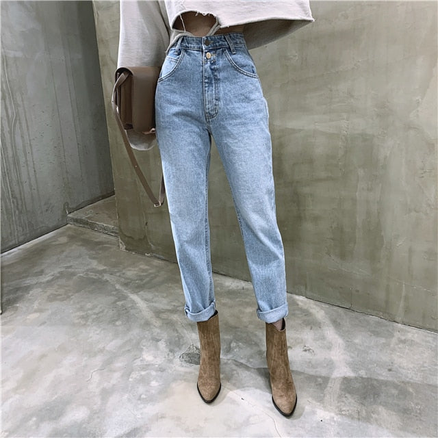 Denim High Waist Mom Jeans