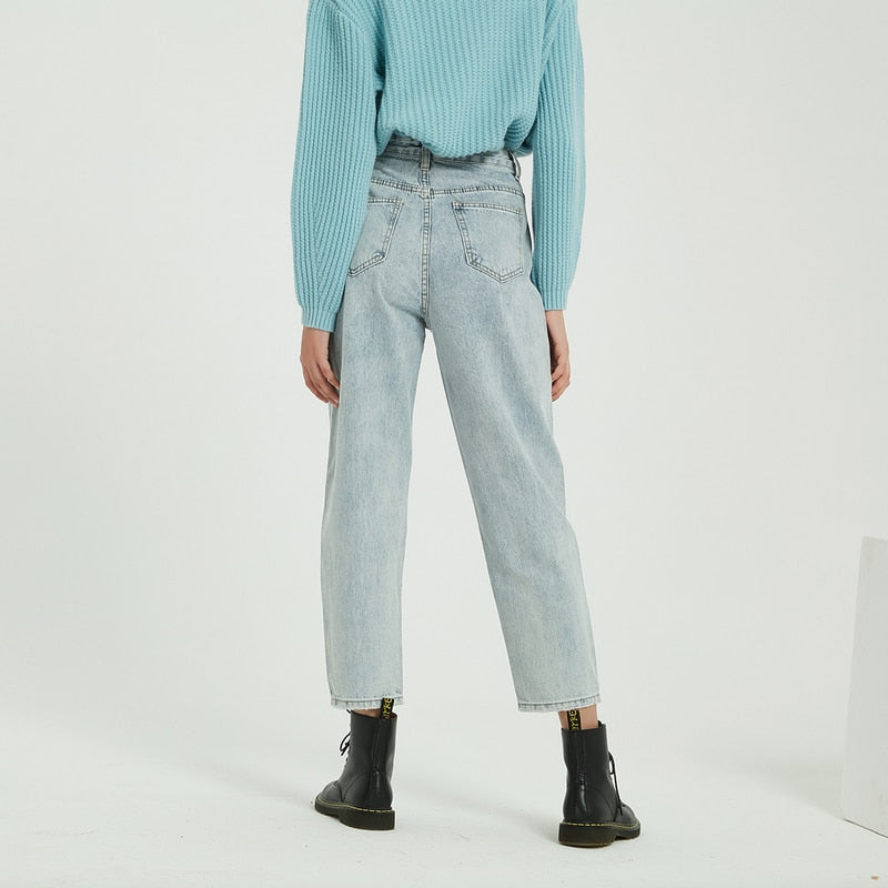 Relaxed High Waist Boyfriend Jeans