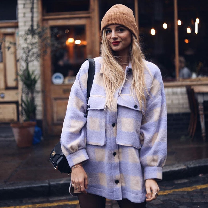 Lavender Plaid Boyfriend Jacket