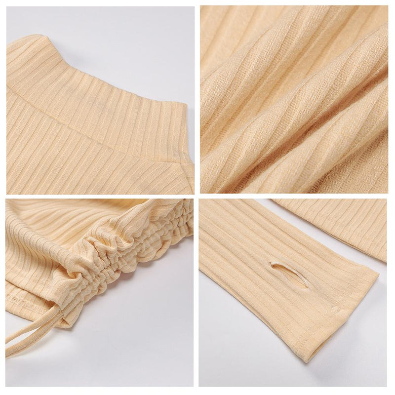 Ribbed High Neck Thumb Hole Sweater Dress