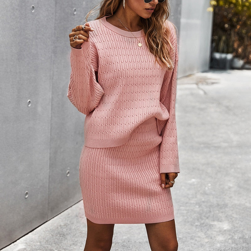 Filomena Knitted Two Piece Skirt Set