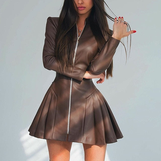 Faux Leather Pleated Mini Dress