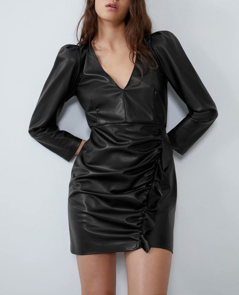 Cascading Ruffle Mini Dress