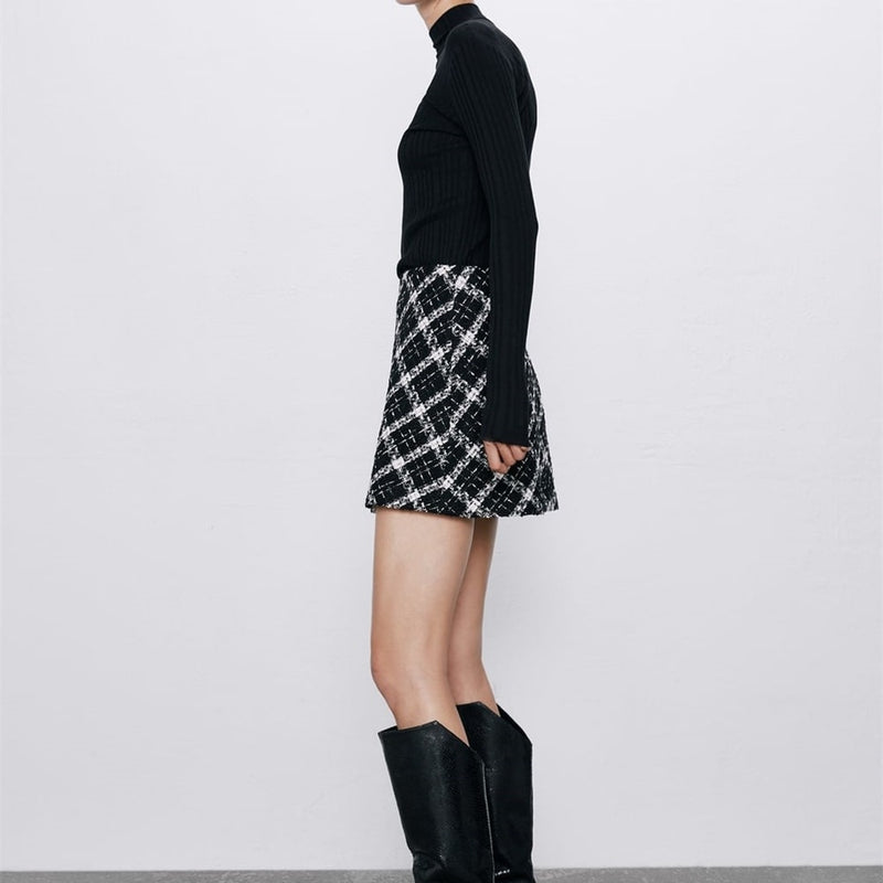 B&W Plaid Tweed Mini Skirt