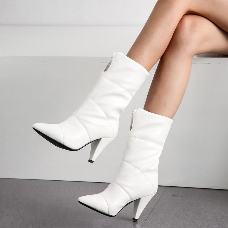 Pointed Toe High Heel Boots
