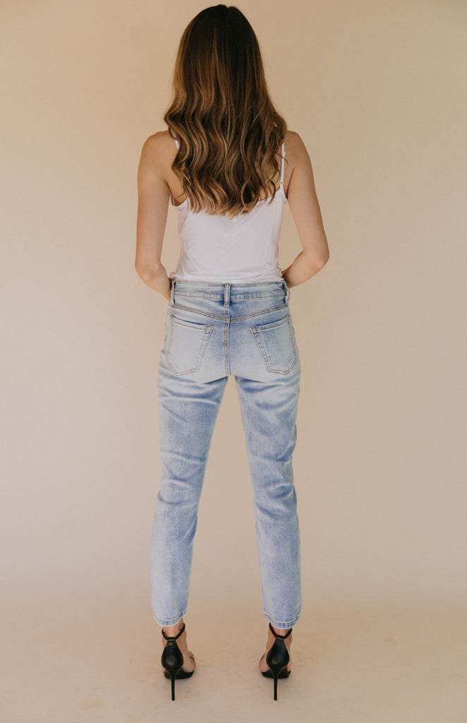 Cady High Rise Distressed Denim