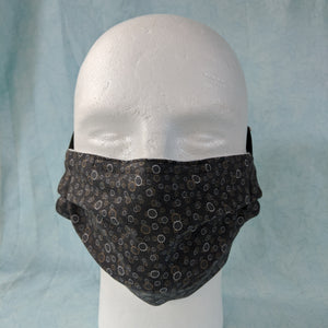 Grey with Circle Print Face Mask - Comfort Fit Extra Large