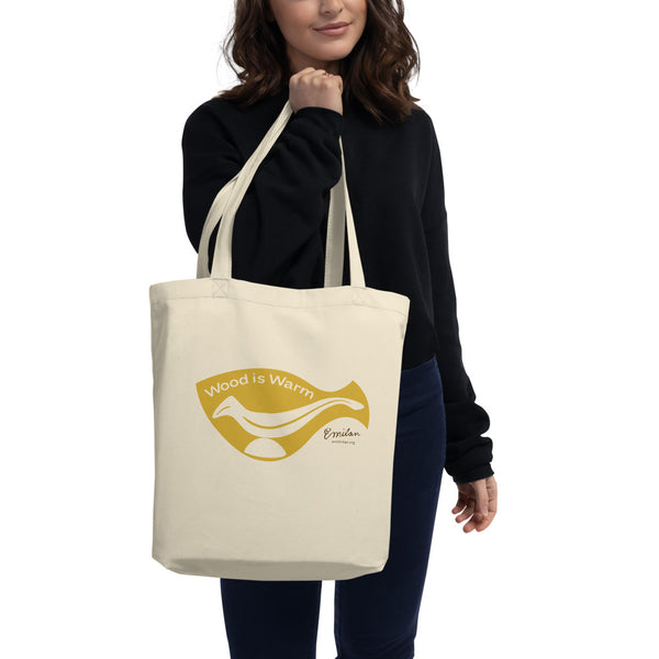 """Wood is Warm"" Eco Tote Bag—Yellow—Small"