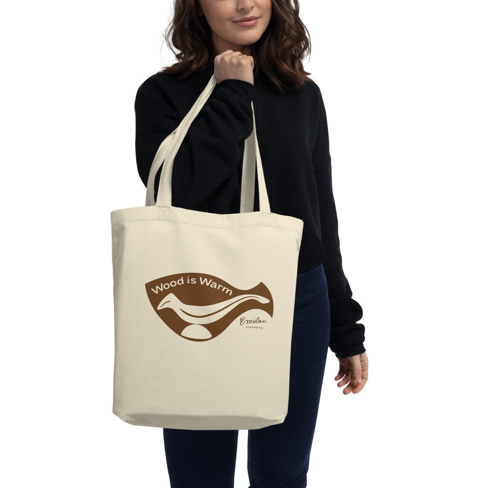 """Wood is Warm"" Eco Tote Bag—Brown—Small"