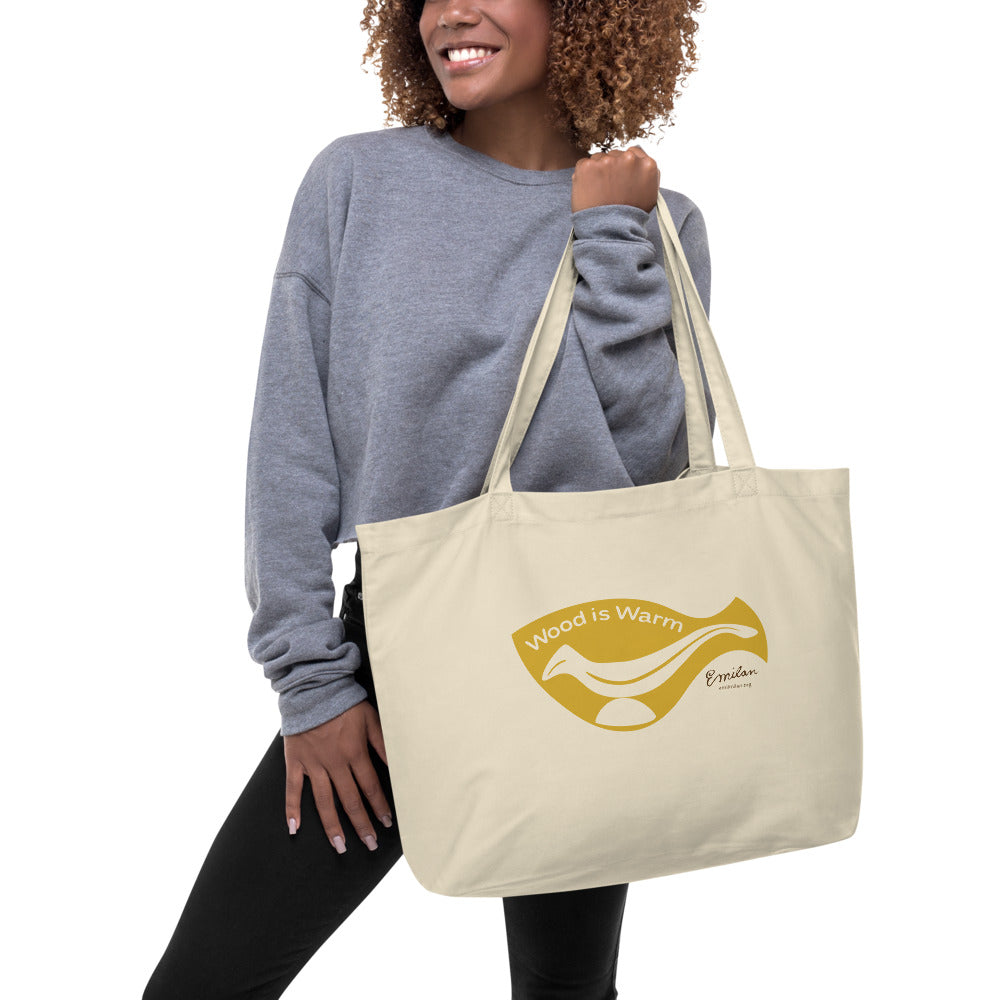 """Wood is Warm"" Eco Tote Bag—Yellow—Large"
