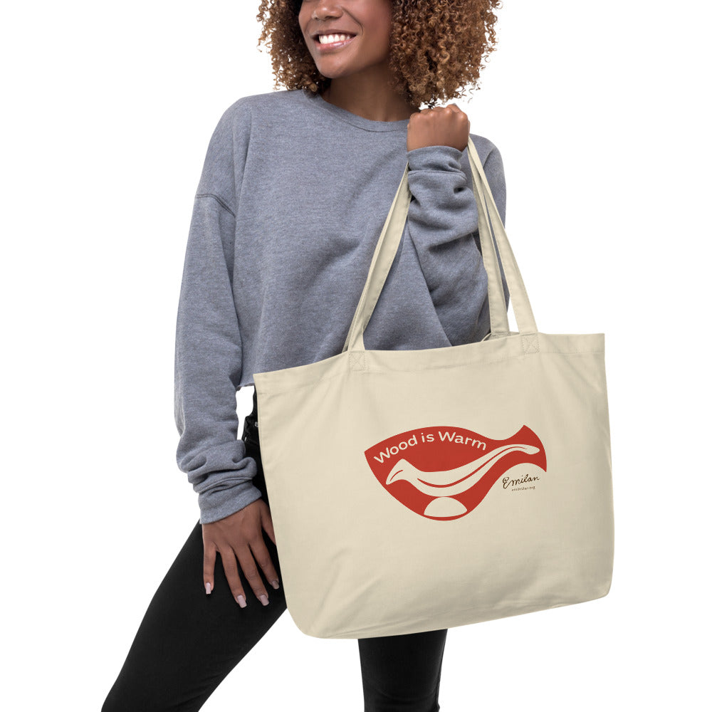 """Wood is Warm"" Eco Tote Bag—Red—Large"