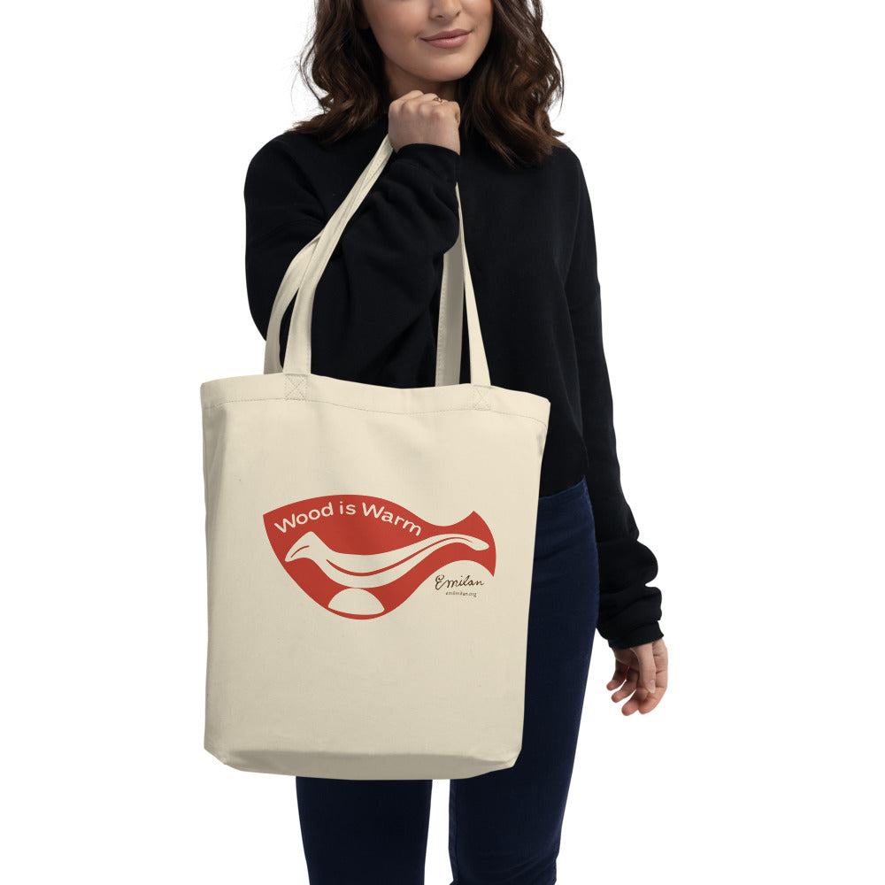 """Wood is Warm"" Eco Tote Bag—Red—Small"
