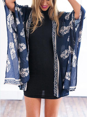 Navy Blue Leaves Print Open Front Beach Coverup
