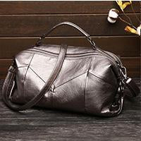 New Women's Euramerican Stitching Soft Leather Handbag