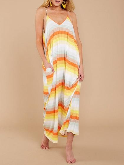 Yellow Cotton V-neck Spaghetti Strap Chic Women Maxi Dress