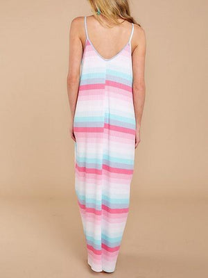Pink Cotton V-neck Spaghetti Strap Chic Women Maxi Dress