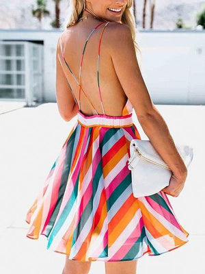 Polychrome Stripe Plunge Open Back Chic Women Cami Mini Dress