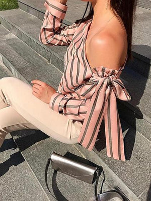 Pink Women Blouse Stripe Asymmetric Neck Long Sleeve